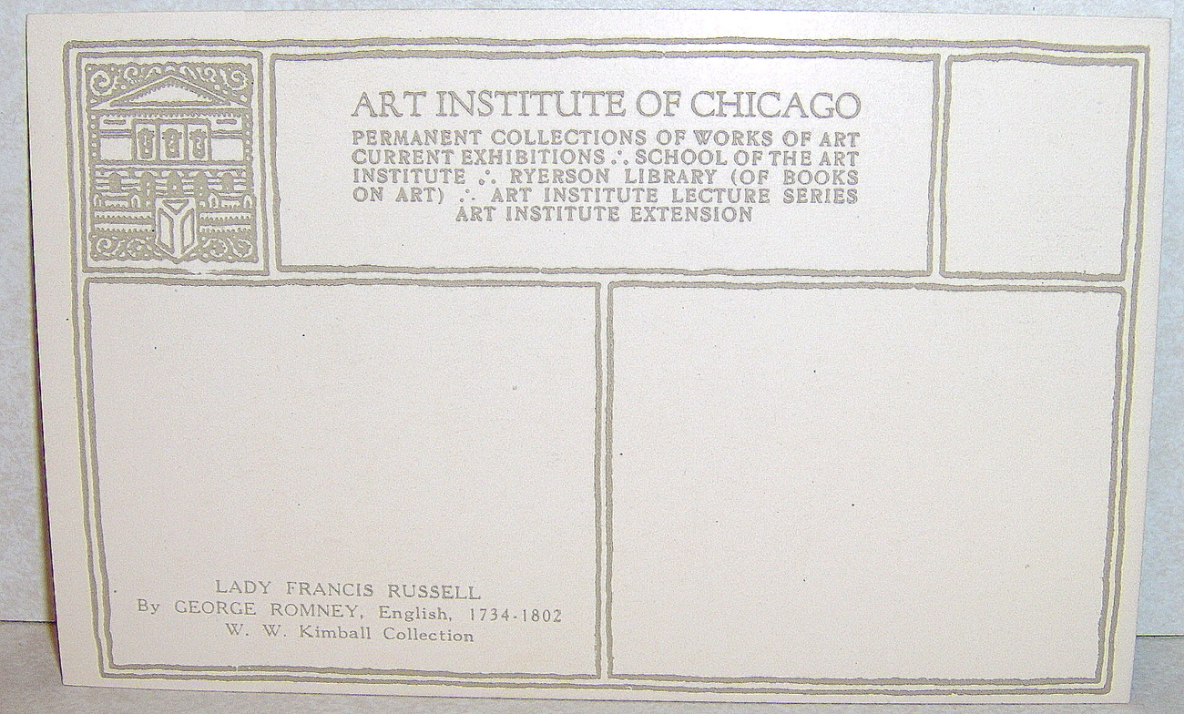 Lady Francis Russell Chicago Art Institute Post card