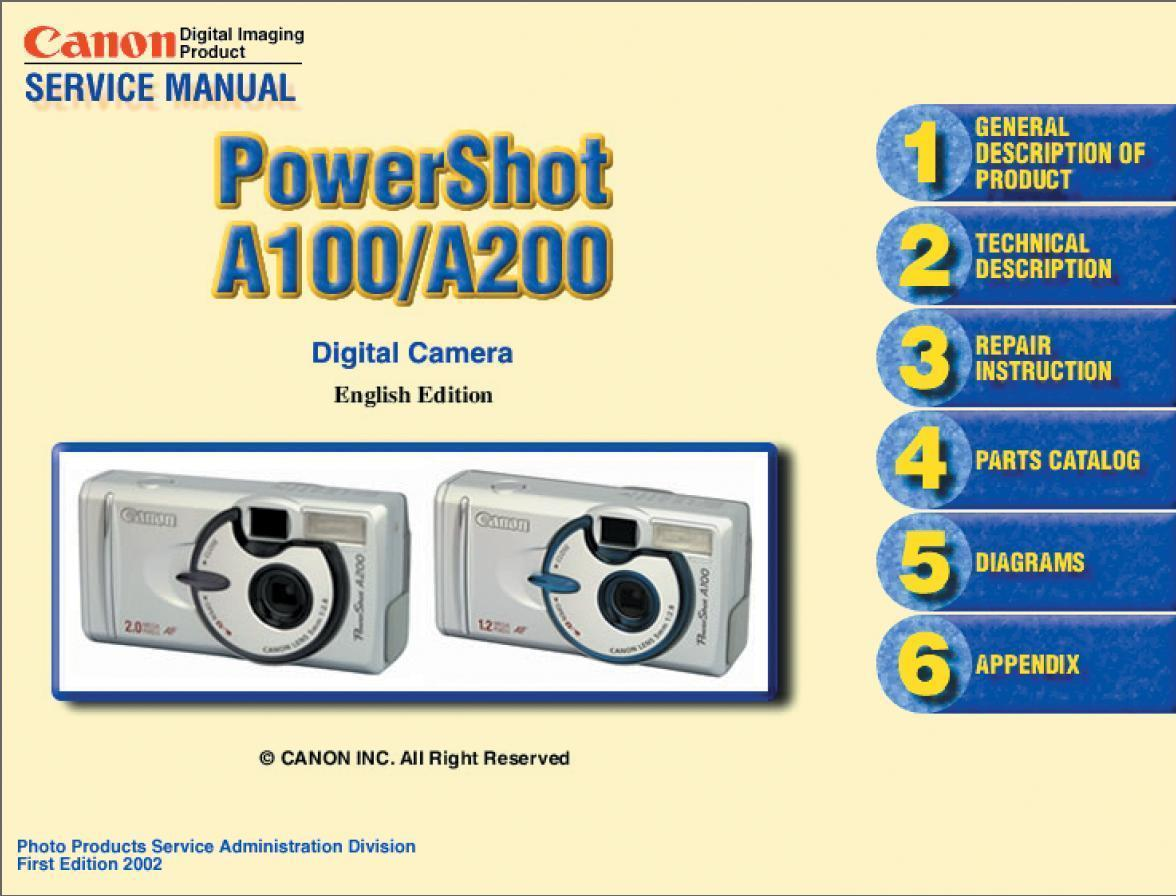 canon powershot a100 a200 camera service and 50 similar items rh bonanza com canon powershot s100 manual canon powershot s100 service manual
