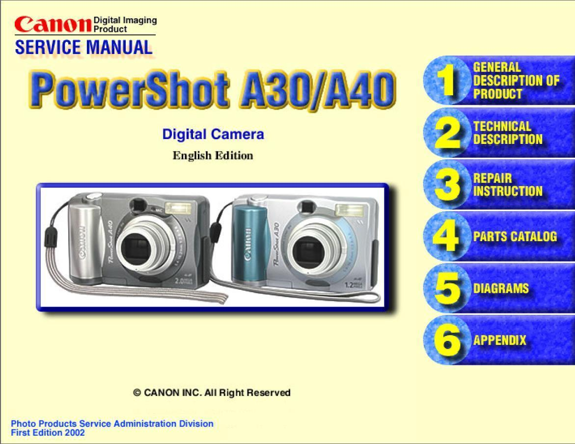 canon powershot a30 a40 camera service and 50 similar items rh bonanza com Canon PowerShot S2 Is Manual Canon PowerShot S2 Is Troubleshooting