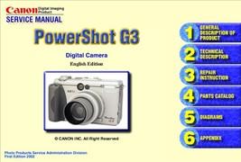 CANON POWERSHOT G3 DIGITAL CAMERA SERVICE REPAIR MANUAL - $7.95