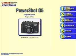 CANON POWERSHOT G5 DIGITAL CAMERA SERVICE REPAIR MANUAL - $7.95