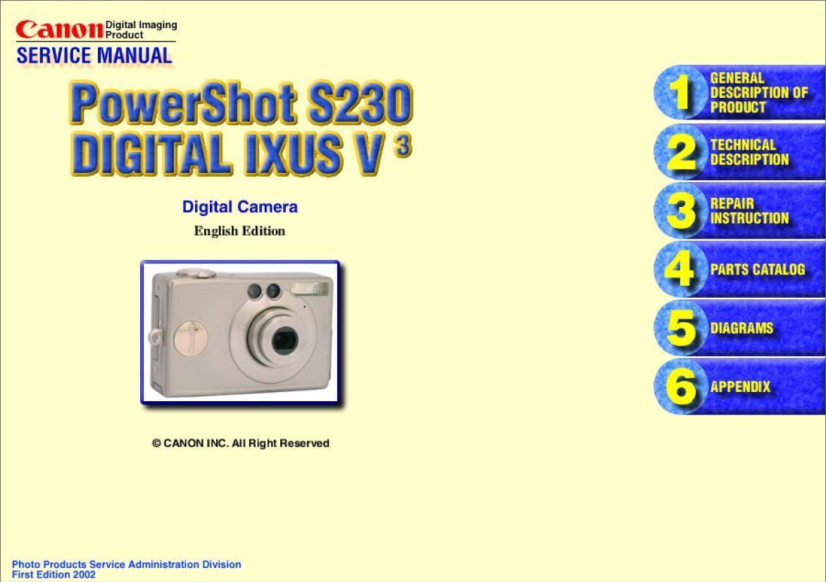 canon powershot s230 ixus v3 service repair and similar items rh bonanza com canon ixus 40 service manual canon ixus 95 is service manual