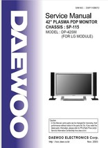 """DAEWOO DP-42SM 42"""" PLASMA PDP TV SERVICE REPAIR MANUAL - $7.95"""