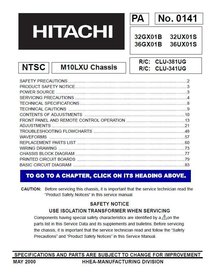 Primary image for HITACHI 32GX01B 36GX01B 32UX01S 36UX01S SERVICE MANUAL