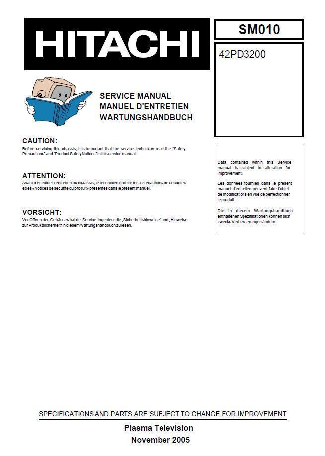 hitachi 42pd3200 sm010 plasma tv service and 21 similar items rh bonanza com Hitachi Plasma Repair Manual Hitachi TV Parts