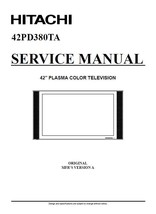 HITACHI 42PD380TA PLASMA TV SERVICE REPAIR MANUAL - $7.95