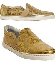 $495 Lanvin Metallic Leather Loafers Slip On Sneaker Flat Shoe Moccasins... - €174,74 EUR