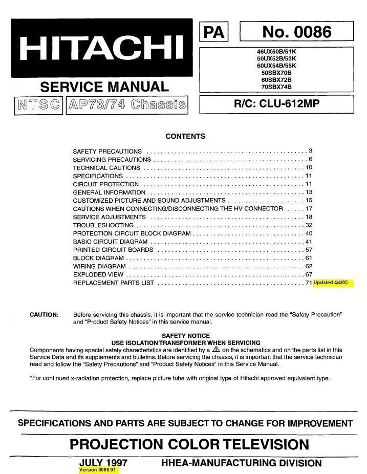 Hitachi projector owners manual.