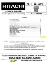 HITACHI 50SBX70B 60SBX72B 70SBX74B TV SERVICE MANUAL - $7.95