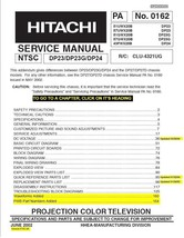 HITACHI 51GWX20B 57GWX20B 43FWX20B TV SERVICE MANUAL - $7.95
