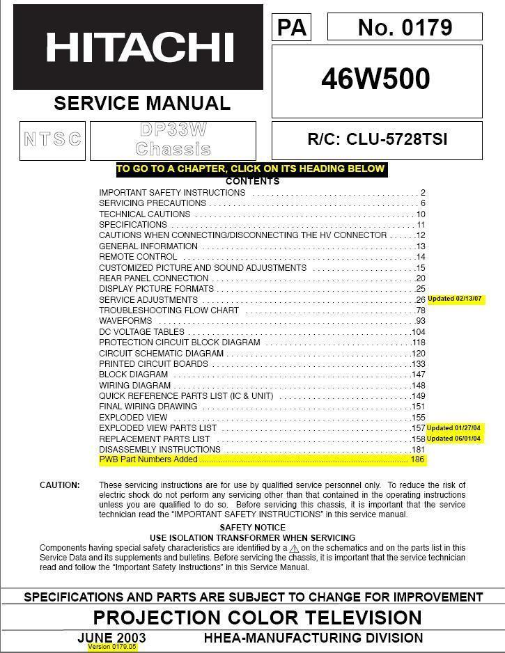 Primary image for HITACHI 46W500 TV FACTORY SERVICE REPAIR MANUAL DP33W