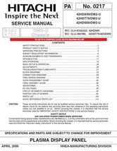 HITACHI 42HDX99 42HDT79 42HDS69 TV SERVICE MANUAL - $7.95