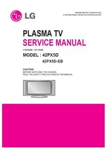 Lg 42PX5D 42PX5D-EB Plasma Tv Service Repair Manual - $7.95
