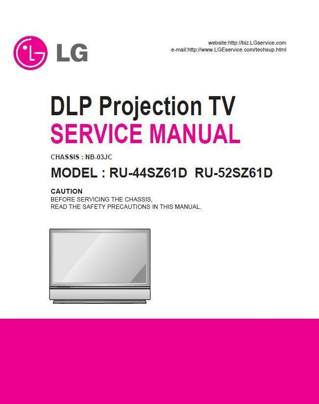 Primary image for LG RU-44SZ61D RU-52SZ61D DLP TV SERVICE REPAIR MANUAL