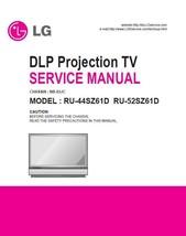 Lg RU-44SZ61D RU-52SZ61D Dlp Tv Service Repair Manual - $7.95