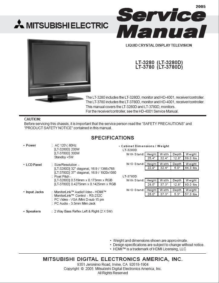 mitsubishi lt 3280 lt 3280d lcd service and 27 similar items rh bonanza com mitsubishi wd 62527 manual Mitsubishi Montero Engine Manual