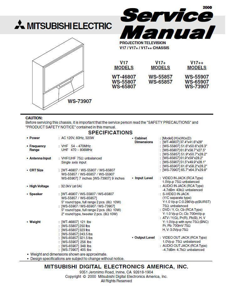 Primary image for MITSUBISHI WS-55907 WS-65907 WS-73907 SERVICE MANUAL 17