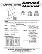 Mitsubishi VS-50111 VS-60111 WS-48311 Service Manual 20 - $5.39