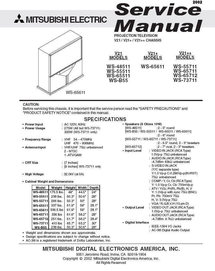 mitsubishi ws 65711 ws 65712 ws 73711 and 50 similar items rh bonanza com mitsubishi ws-65315 service manual Mitsubishi TV Manual
