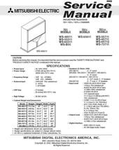 MITSUBISHI WS-65711 WS-65712 WS-73711 SERVICE MANUAL 21 - $7.95