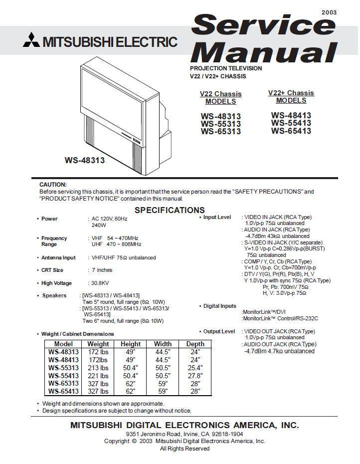 mitsubishi ws 48313 manual how to and user guide instructions u2022 rh taxibermuda co Mitsubishi TV Mitsubishi RS