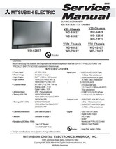 MITSUBISHI WD-62628 WD-73727 WD-62827 SERVICE MANUAL 30 - $7.95