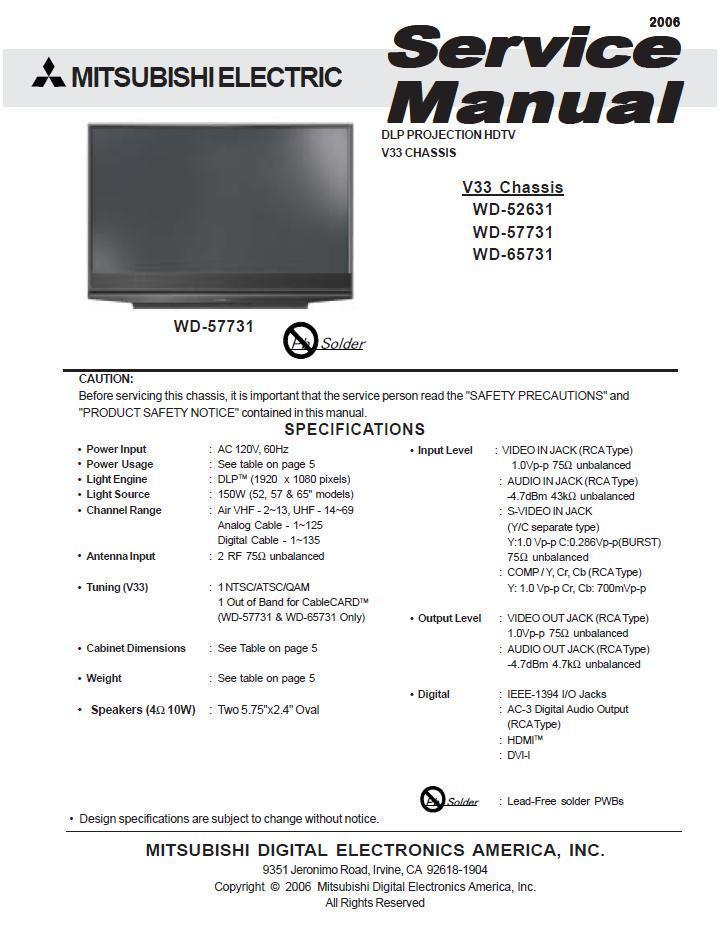 Mitsubishi wd-65731 manual.