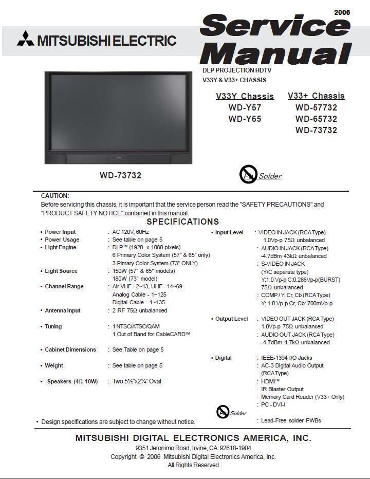 mitsubishi wd 65732 wd 73732 service manual and 50 similar items rh bonanza com 2003 Mitsubishi Lancer Manual Cover 2003 Mitsubishi Lancer Manual Cover