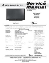 MITSUBISHI WD-57831 WD-65831 WD-73831 SERVICE MANUAL 34 - $7.95