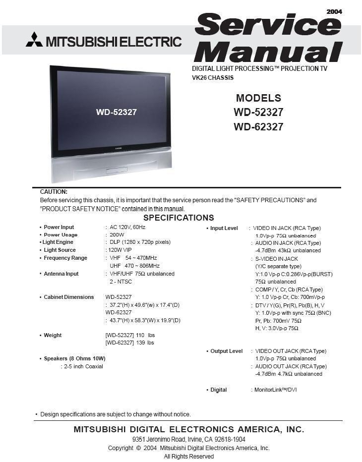 mitsubishi wd 52327 wd 62327 service repair and 27 similar items rh bonanza com Mitsubishi TV Parts Catalog Mitsubishi Outlander Repair Manual