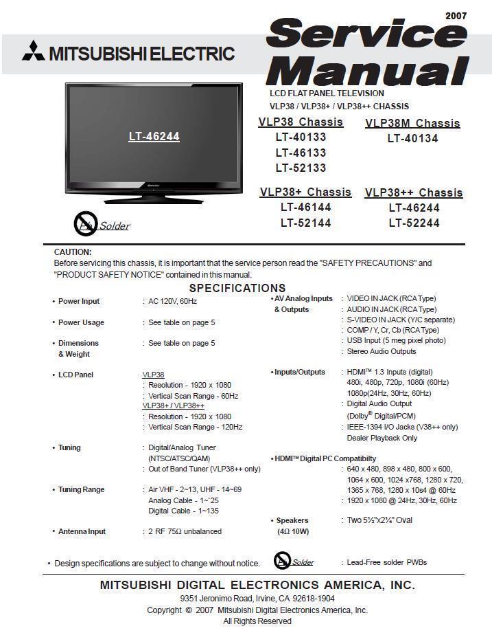 mitsubishi lt 40133 lt 46133 lt 52133 tv and 50 similar items rh bonanza com