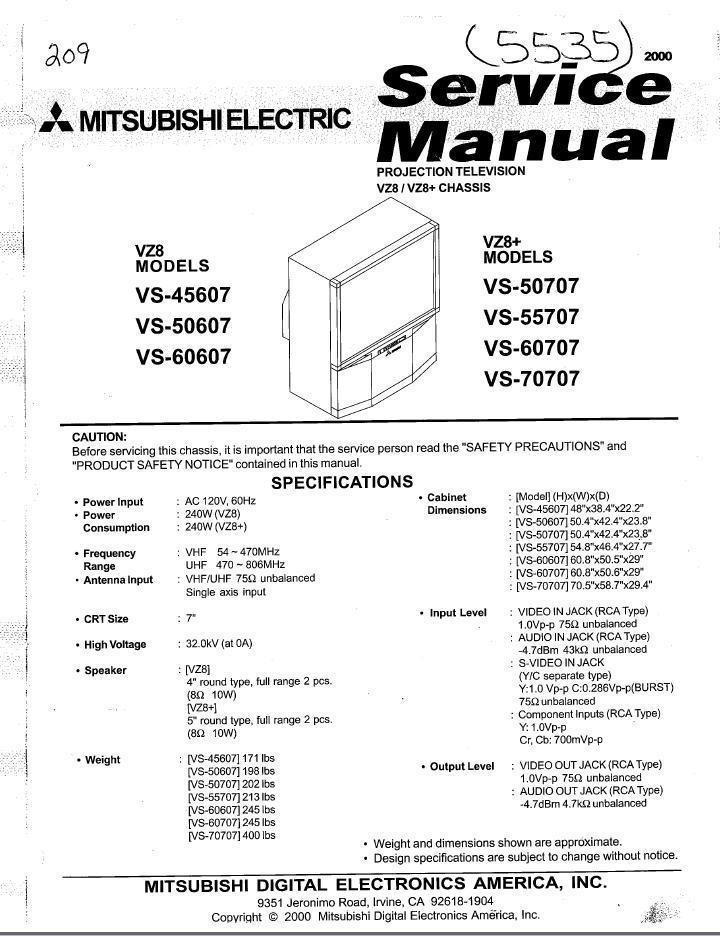 Primary image for MITSUBISHI VS-60607 VS-50707 SERVICE REPAIR MANUAL VZ8