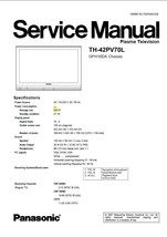 PANASONIC TH-42PV70L PLASMA TV SERVICE REPAIR MANUAL - $7.95
