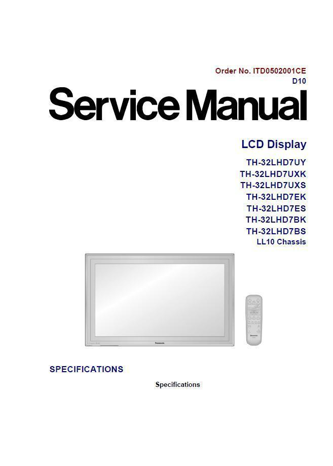 panasonic th 32lhd7bs lcd tv service repair and 35 similar items rh bonanza com panasonic lcd tv service manual pdf Panasonic 50 Inch Plasma TV