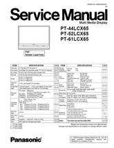 PANASONIC PT-61LCX65 TV DISPLAY SERVICE REPAIR MANUAL - $7.95