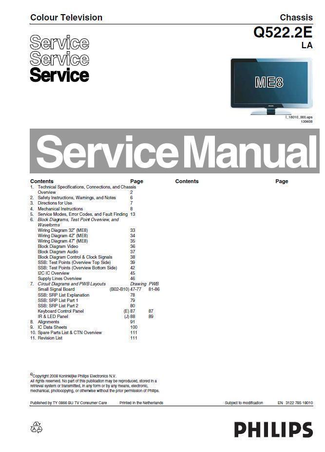 philips q522 2e la me8 lcd tv service repair and 50 similar items rh bonanza com service manual philips senseo service manual philips tv