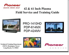 "Pioneer 42"" 61"" Plasma Tv Field Service Training Guide - $7.95"