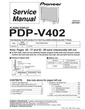 PIONEER PDP-V402 PLASMA TV SERVICE REPAIR MANUAL - $6.39
