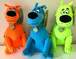 """New Set of 3 Scooby -Doo Plush Toy Fluorescent . Large 12"""" each. Licensed. NWT - $38.21"""