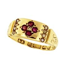Gorgeous Vintage Ruby Diamond 18k Yellow Gold Cocktail Ring - $550.00