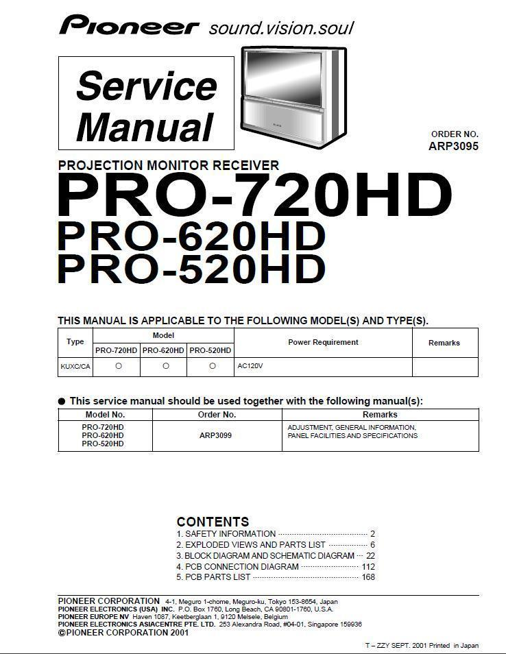 Primary image for PIONEER PRO-720HD PRO-620HD PRO-520HD TV SERVICE MANUAL