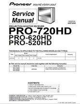 Pioneer PRO-720HD PRO-620HD PRO-520HD Tv Service Manual - $7.95