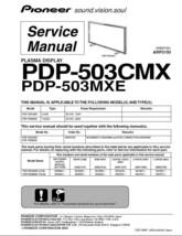 Pioneer PDP-503CMX PDP-503MXE Tv Service Repair Manual - $7.95