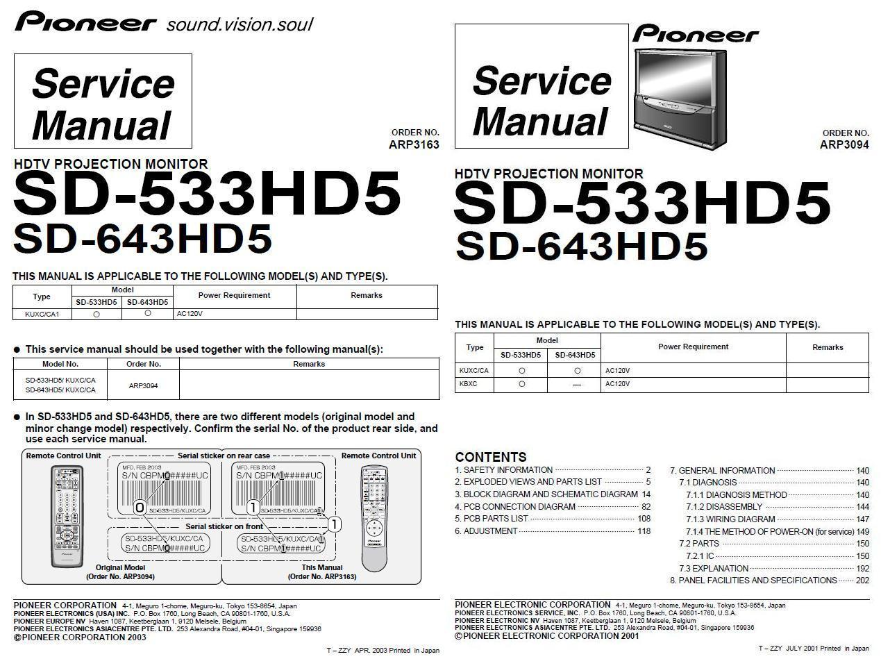 Pioneer sd 533hd5 sd 643hd5 tv service and 50 similar items pioneer arp3163 3094 sciox Choice Image