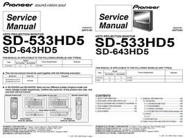 Pioneer SD-533HD5 SD-643HD5 Tv Service Repair Manual - $7.95
