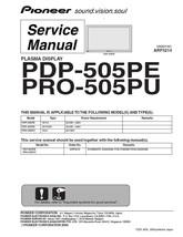 Pioneer PDP-505PE PRO-505PU Tv Service Repair Manual - $7.95