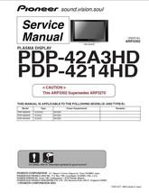 Pioneer PDP-42A3HD PDP-4214HD Tv Service Repair Manual - $7.95