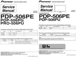 Pioneer PDP-506PE PDP-506PU Tv Service Repair Manual - $7.95