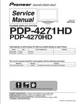 Pioneer PDP-4271HD PDP-4270HD Tv Service Repair Manual - $7.95