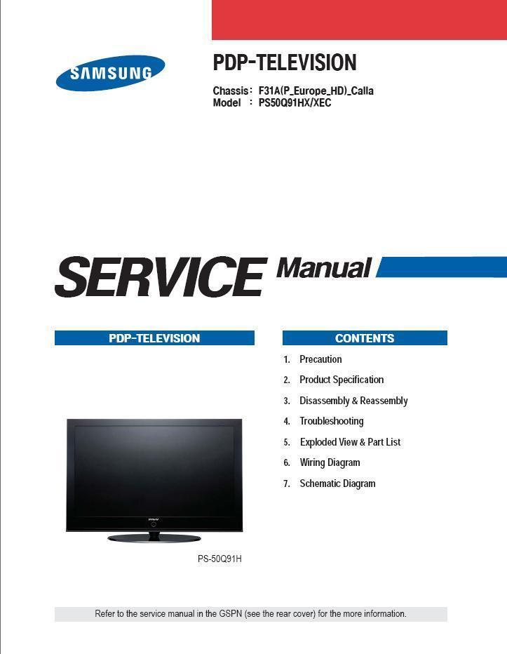 SAMSUNG PS50Q91H PS50Q91HX/XEC SERVICE REPAIR MANUAL - TV ...